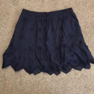 Aerie navy blue eyelet skirt